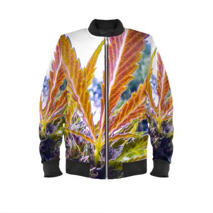 Colorful Cannabis Leaf Bombers Jacket