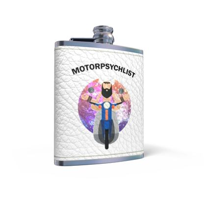 Leather Wrapped Hip Flask - Guru Motorpsychlist Funny Pun