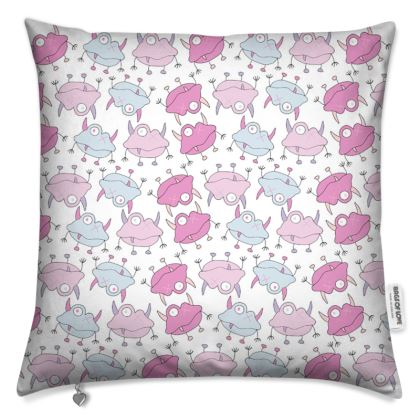 Ava White with Pink and Blue Repeated Monster Print Cushion. Designed by Spoilt by Jade