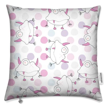 Ava, White and Pink Dot, Monster Print Cushion. Designed by Spoilt by Jade