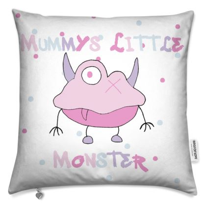 Ava Mummy's Little Monster, White Cushion with Pink Ava Monster. Designed by Spoilt by Jade