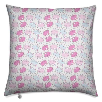 Ava Mini Pink and Blue Monster Repeat Print Cushion. Designed by Spoilt by Jade