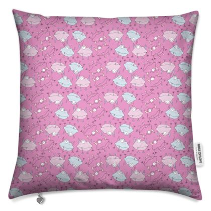 Ava Monster, Mini Repeated Print, Pink Cushion. Designed by Spoilt by Jade