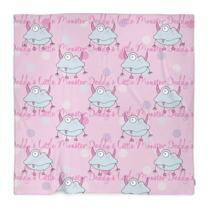"""Ava, Repeated """"Daddy's Little Monster"""" Fleece Blanket designed by Spoilt By Jade"""