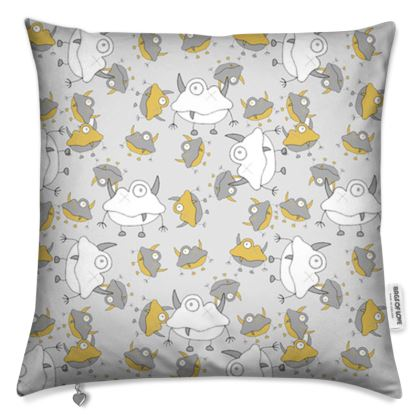 Unisex Off-White Repeated Monster Children's Cushion Covers Designed by Spoilt By Jade