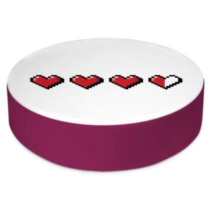 Round Floor Cushions - Pixel Hearts - Damage Taken Health Bar