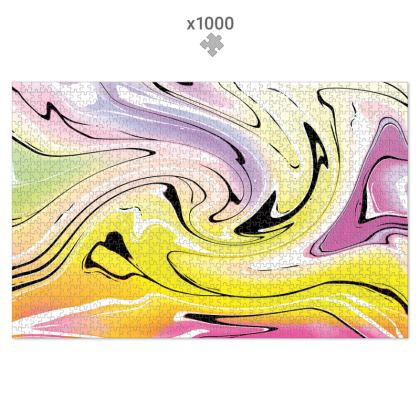 Jigsaw Puzzle - Multicolour Swirling Marble Pattern 3 of 12