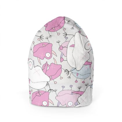 Ava Overlay Off-White Children's Beanie Hat Designed by Spoilt By Jade