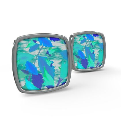 Cufflinks Cathedral Leaves Turquoise Teal