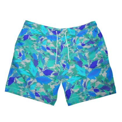 Mens Swimming Shorts Cathedral Leaves Turquoise Teal