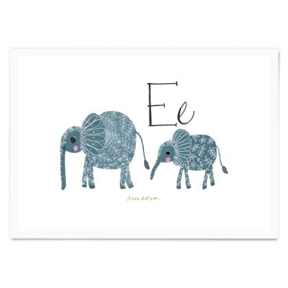 Art Poster- Ee is for Elephant