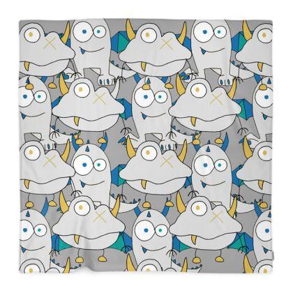 Leo, Grey Monster, Children's Polar Fleece Blanket Designed by Spoilt By Jade