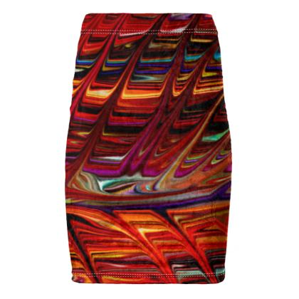 Pencil Skirt Red Tree