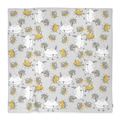 Unisex Off-White Monster Repeated Children's Fleece Blanket Designed by Spoilt By Jade