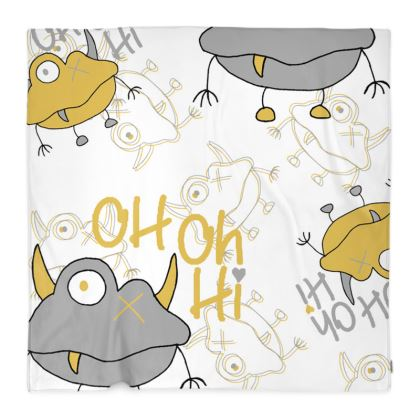 """Unisex """"Oh Oh Hi"""" Slogan, Monster Children's Fleece Blanket Designed by Spoilt By Jade"""