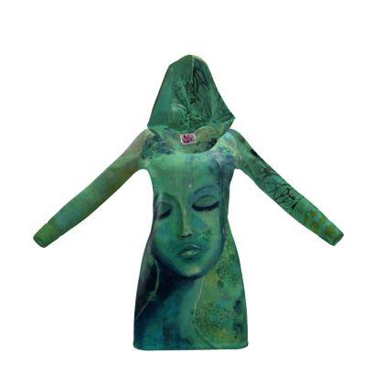 Green aqua hoody dress