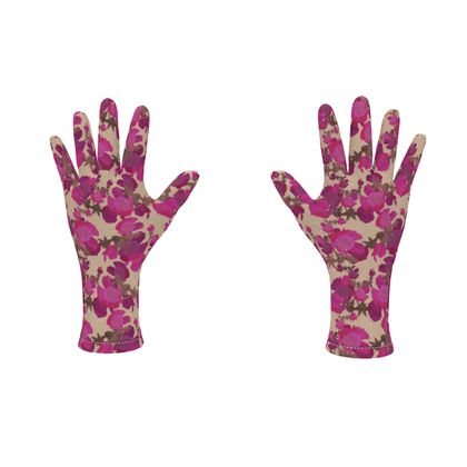 Fleece Gloves Field Poppies Pink Poppies