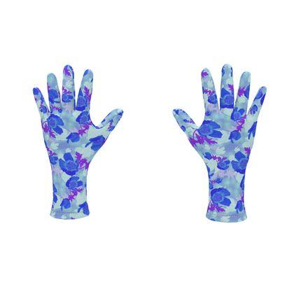 Fleece Gloves Field Poppies Blue Poppies