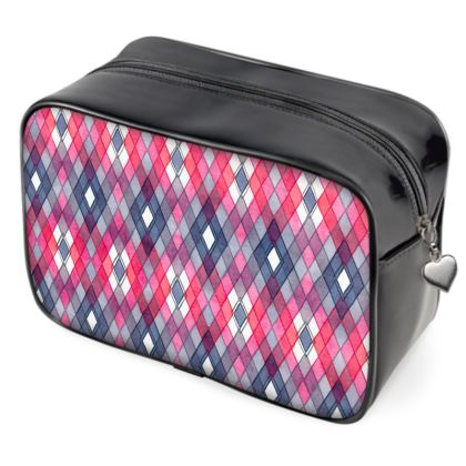 Pink and gray Rhombus pattern - multi-functional zipper bag