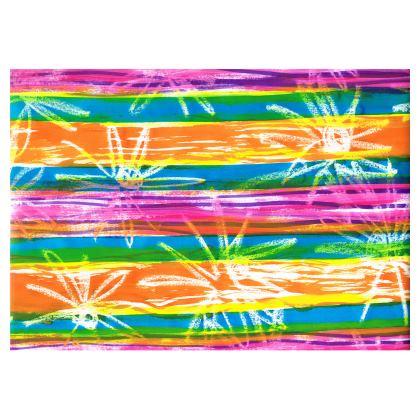Rainbow Stripes Folding Stool Chair