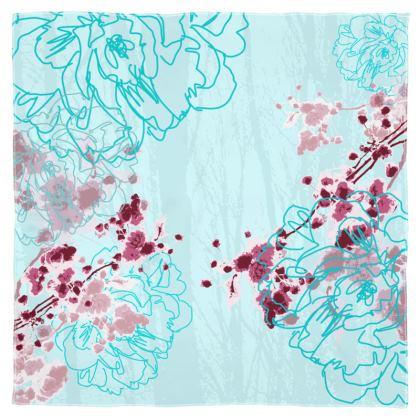 Scarf Wrap or Shawl - Aqua Cherry Floral