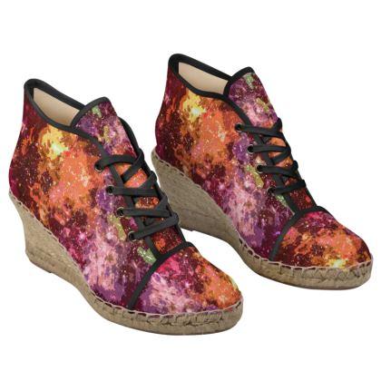 Ladies Wedge Espadrilles - Orange Nebula Galaxy Abstract