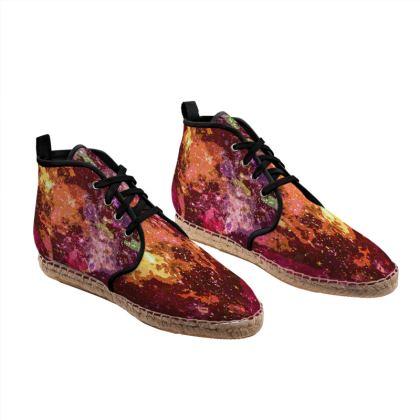 Hi Top Espadrilles - Orange Nebula Galaxy Abstract