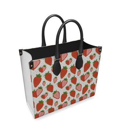 Sweet Strawberries - Leather Shopper Bag