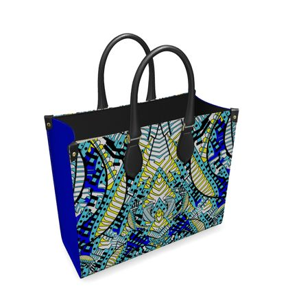Wings of Death - Royal Blue - Leather Shopper Bag
