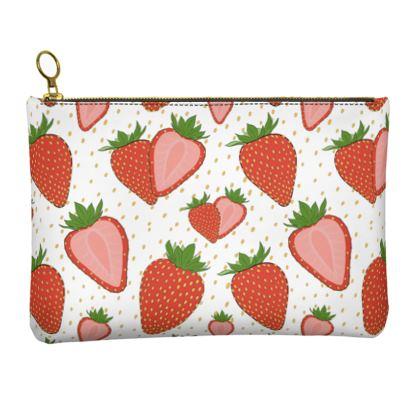 Sweet Strawberries - Leather Clutch Bag