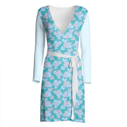 Wrap Dress Oriental Leaves on Teal