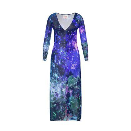 Ladies Cardigan - Purple Nebula Galaxy Abstract