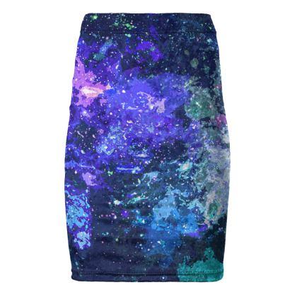 Pencil Skirt - Purple Nebula Galaxy Abstract
