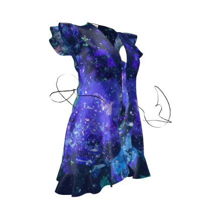 Tea Dress - Purple Nebula Galaxy Abstract