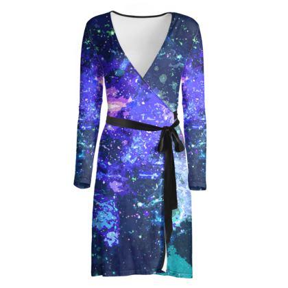 Wrap Dress - Purple Nebula Galaxy Abstract