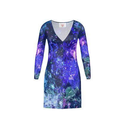 Short Ladies Cardigan - Purple Nebula Galaxy Abstract