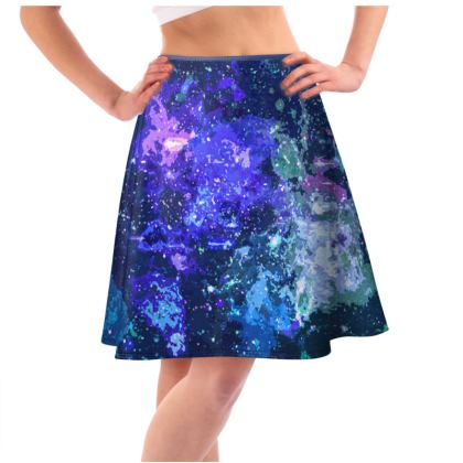 Knee Length Flared Skirt - Purple Nebula Galaxy Abstract