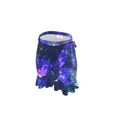 Short Flounce Skirt - Purple Nebula Galaxy Abstract