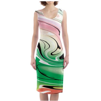 Bodycon Dress - Multicolour Swirling Marble Pattern 1 of 12