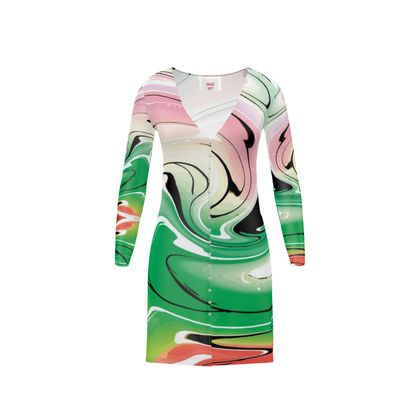 Short Ladies Cardigan - Multicolour Swirling Marble Pattern 1 of 12