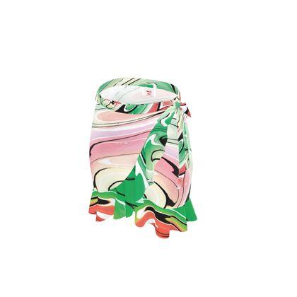 Short Flounce Skirt - Multicolour Swirling Marble Pattern 1 of 12