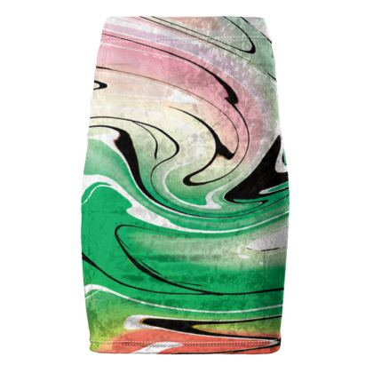 Pencil Skirt - Multicolour Swirling Marble Pattern 1 of 12