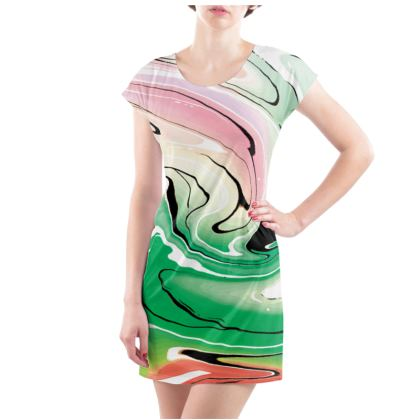 Ladies Tunic T Shirt - Multicolour Swirling Marble Pattern 1 of 12
