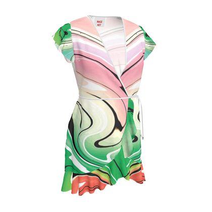 Tea Dress - Multicolour Swirling Marble Pattern 1 of 12