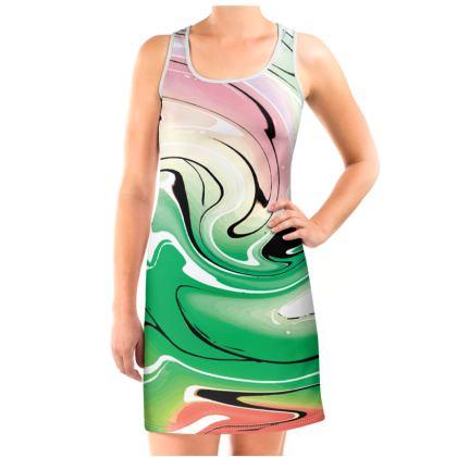 Vest Dress - Multicolour Swirling Marble Pattern 1 of 12