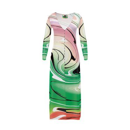 Long Ladies Cardigan - Multicolour Swirling Marble Pattern 1 of 12