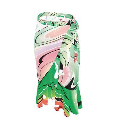 Long Flounce Skirt - Multicolour Swirling Marble Pattern 1 of 12