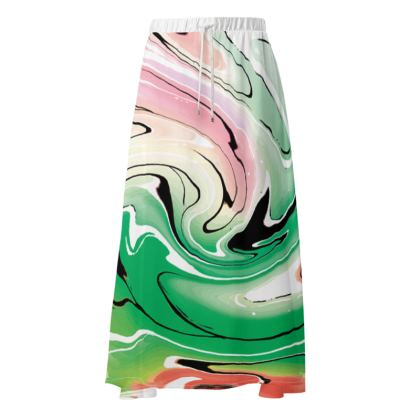 Maxi Skirt - Multicolour Swirling Marble Pattern 1 of 12