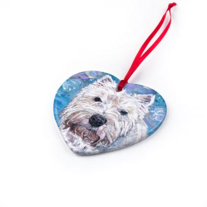 Millie the Westie Luxury Fine Art Print Christmas Ornament by Somerset (UK) Artist and Designer Amanda Boorman