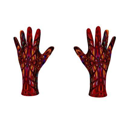 Fleece Gloves Red Tree